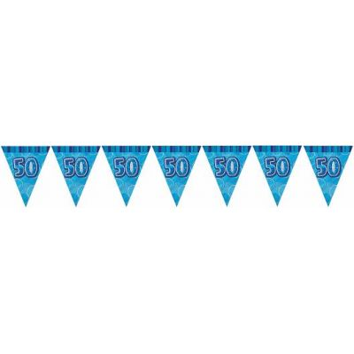 Blue Glitz 50th 12ft Flag Banner