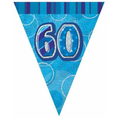 Blue Glitz 60th 12ft Flag Banner