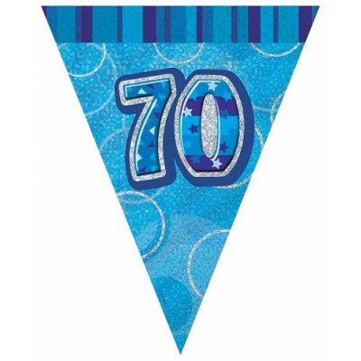 Blue Glitz 70th 12ft Flag Banner
