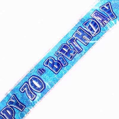 Blue Glitz 70th Foil Banner