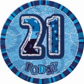 Blue Glitz 21st 6 Inch Badge