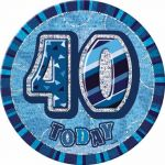 Blue Glitz 40th 6 Inch Badge