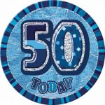 Blue Glitz 50th 6 Inch Badge
