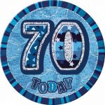 Blue Glitz 70th 6 Inch Badge