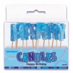 Blue Glitz Birthday Pick Candles