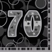 Black Glitz 70th 33cm Napkins (pack quantity 16)