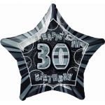 Black Glitz 30th 20 Inch Foil Balloon
