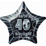 Black Glitz 40th 20 Inch Foil Balloon