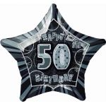 Black Glitz 50th 20 Inch Foil Balloon