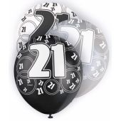  Black Glitz 21st 12 Inch Balloons (pack&nbsp;quantity&nbsp;6) 