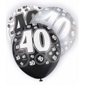  Black Glitz 40th 12 Inch Balloons (pack&nbsp;quantity&nbsp;6) 
