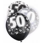 Black Glitz 50th 12 Inch Balloons (pack quantity 6)