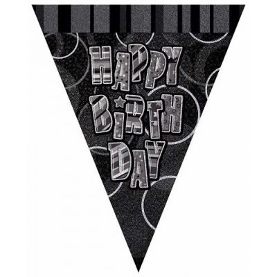 Black Glitz Birthday 12ft Flag Banner