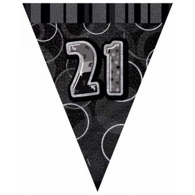 Black Glitz 21st 12ft Flag Banner