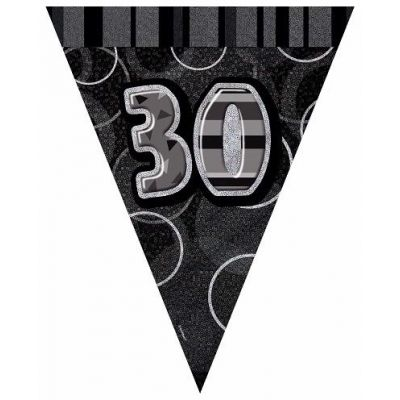 Black Glitz 30th 12ft Flag Banner