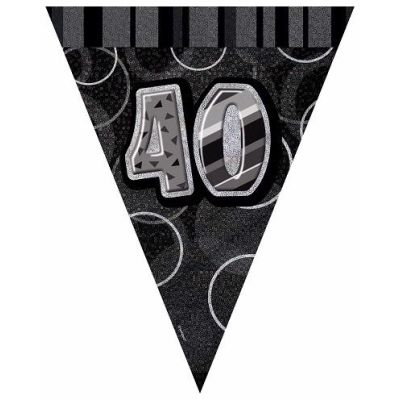 Black Glitz 40th 12ft Flag Banner