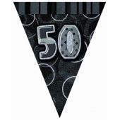 Black Glitz 50th 12ft Flag Banner