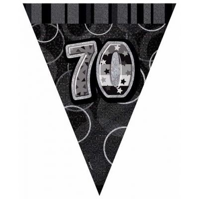 Black Glitz 70th 12ft Flag Banner
