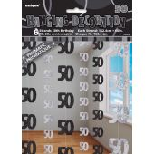 Black Glitz 50th Hanging Decoration