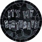 Black Glitz Birthday 6 Inch Badge