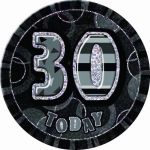 Black Glitz 30th 6 Inch Badge