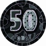Black Glitz 50th 6 Inch Badge