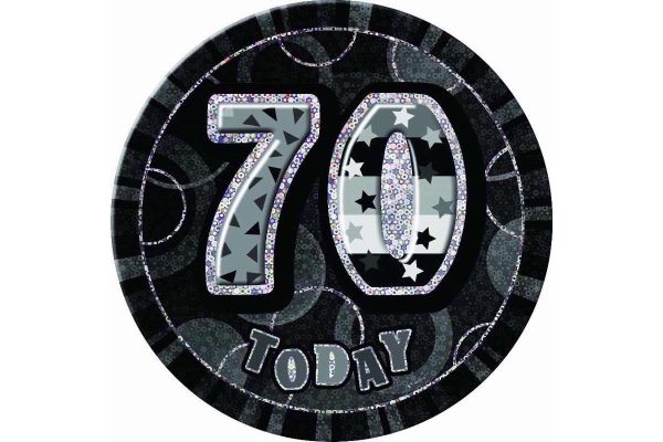 Black Glitz 70th 6 Inch Badge