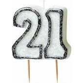 Black Glitz 21st Birthday Candle