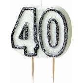 Black Glitz 40th Birthday Candle