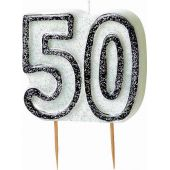 Black Glitz 50th Birthday Candle