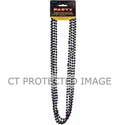 32 Inch Black Metallic Beads (pack quantity 4)