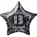 Black Glitz 13th 20 Inch Foil Balloon