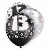  12 Inch Black Glitz 13th Balloons (pack&nbsp;quantity&nbsp;6) 