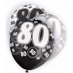  12 Inch Black Glitz 80th Balloons (pack&nbsp;quantity&nbsp;6) 
