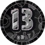 6 Inch Black Glitz 13th Badge