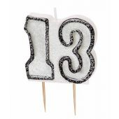 Black Glitz 13th Numeral Candle