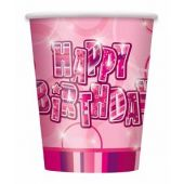  9oz Pink Glitz Birthday Cups (pack&nbsp;quantity&nbsp;8) 