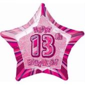 Pink Glitz 13th 20 Inch Foil Balloon