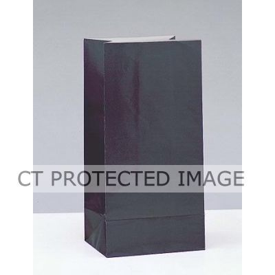  Paper Party Bags Black (pack&nbsp;quantity&nbsp;12) 