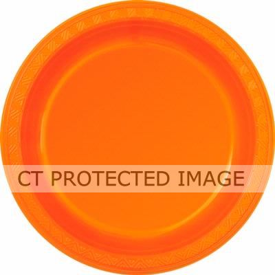  Orange 9 Inch Plastic Plates (pack&nbsp;quantity&nbsp;8) 