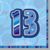 3ply Blue Glitz 13th 33cm Napkins (pack quantity 16)