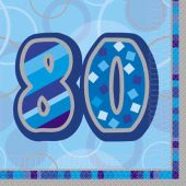 Blue Glitz 80th 33cm Napkins (pack quantity 16)