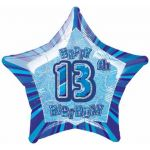Blue Glitz 13th 20 Inch Foil Balloon