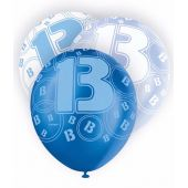 12 Inch Blue Glitz 13th Balloons (pack quantity 6)