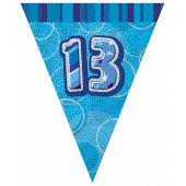 12ft Blue Glitz 13th Flag Banner