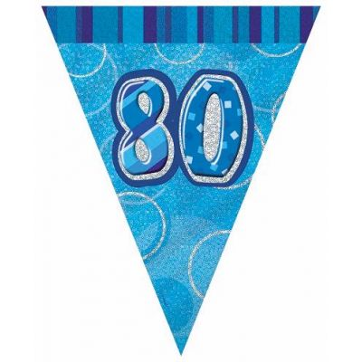 12ft Blue Glitz 80th Flag Banner