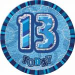 6 Inch Blue Glitz 13th Badge