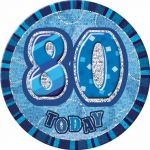 6 Inch Blue Glitz 80th Badge