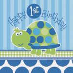 1st Birthday Turtle 33cm Napkins (pack quantity 16)