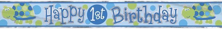 12ft 1st Birthday Turtle Foil Banner